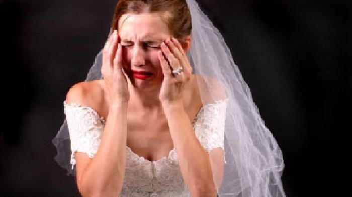 Ilustrasi pengantin wanita menangis