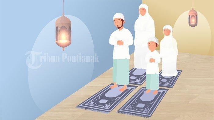 Ilustrasi sholat ied Idul Fitri di rumah