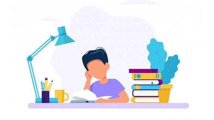 Ilustrasi siswa belajar di rumah