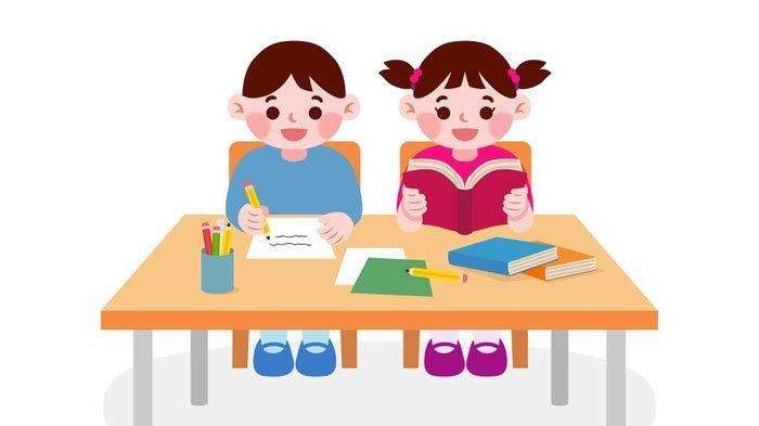 Ilustrasi siswa dan siswi SD belajar bersama