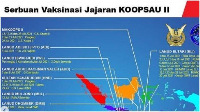 Jadwal dan Lokasi Vaksin Covid-19 Gratis dari TNI AU.