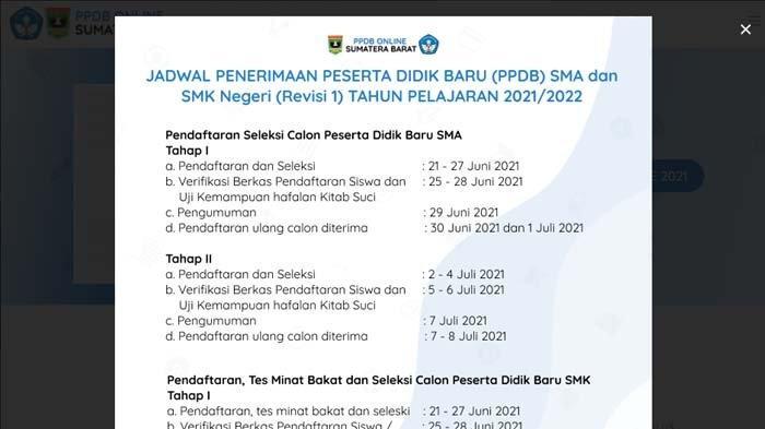 SEGERA Diumumkan Hasil Seleksi PPDB SMA/SMK Sumbar 2021, Simak Cara Cek, Akses ppdb.sumbarprov.go.id
