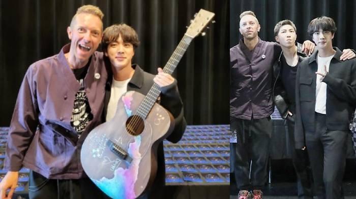 Jin BTS Puji Gitar Milik Chris Martin, Malah Langsung Diberikan Oleh Vokalis Coldplay, Ditulisi Ini