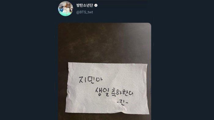 Jin BTS mengucapkan selamat ulang tahun pada Jimin di tisu toilet