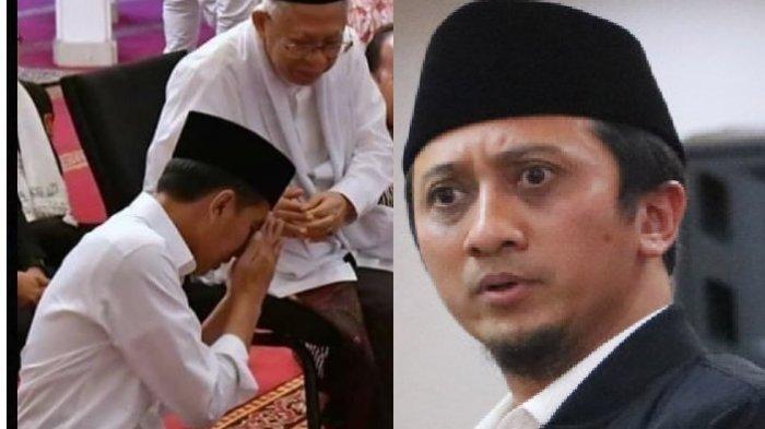 MOMEN Jokowi Duduk Merunduk Sungkem Wapres Maruf Amin, Yusuf Mansur Takjub 'Ini Potret Langka!'
