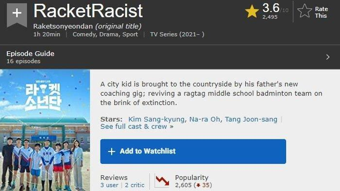 Racket Boys Kena Dampak Gegara Dinilai Lecehkan Indonesia: Judul di IMDb Berubah, Rating Turun
