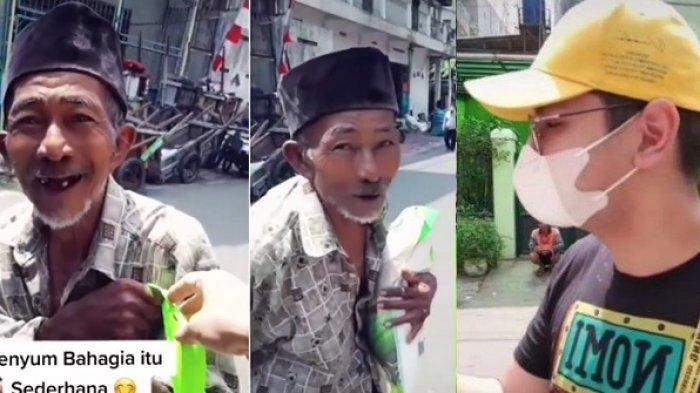 Kakek Ini Senyum Sumringah Dibelikan Banyak Sembako Pria Bermasker, Ternyata Aktor Ikatan Cinta