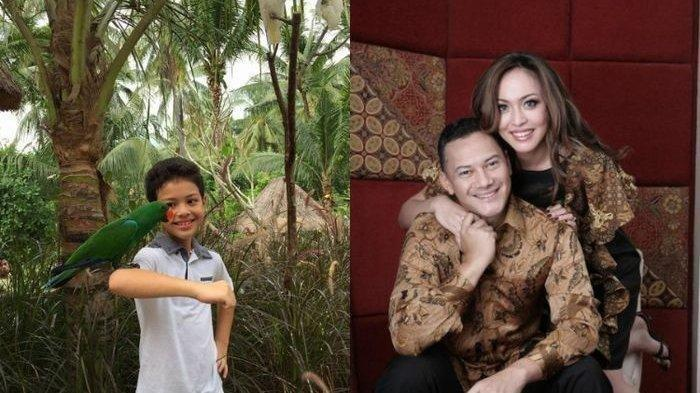 Keanu Massaid dan foto kenangan almarhum Adjie Massaid bersama bunda Angelina Sondakh