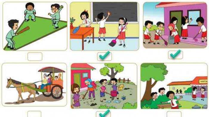 KUNCI JAWABAN Tema 8 Kelas 2 SD Subtema 3 Hal 149-158, Tentukan Gambar yang Menunjukkan Kerja Bakti