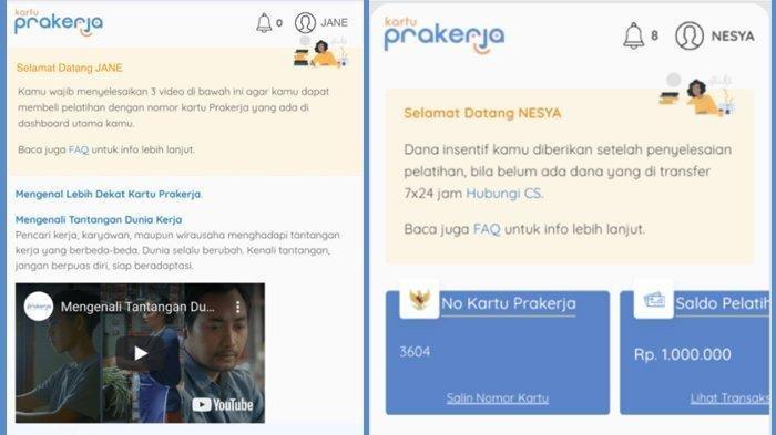 Kiri tampilan dashboard tonton 3 video wajib, kanan tampilan nomor Kartu Prakerja di dashboard www.prakerja.go.id