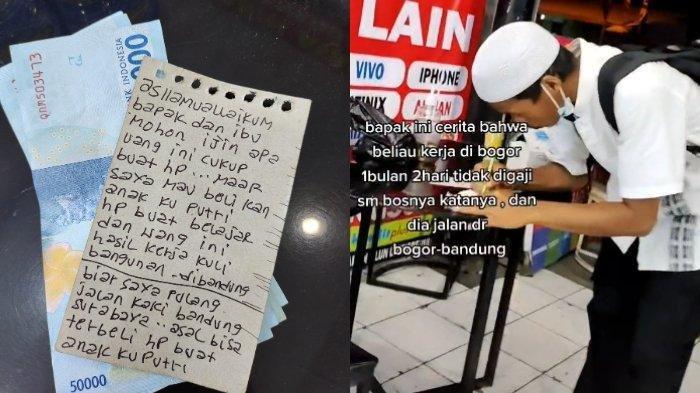 Viral Pria Jalan Kaki Jakarta-Bandung Demi Belikan HP Anak, Tulis Catatan Pilu: Apa Uang Ini Cukup?