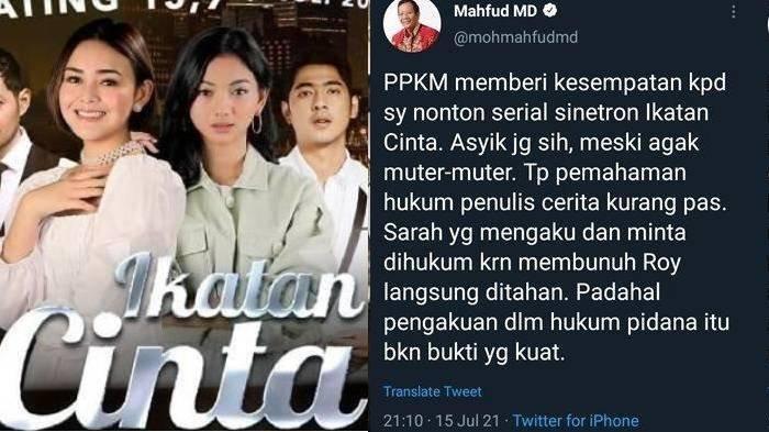 Mahfud MD Kritik Jalan Cerita Ikatan Cinta yang Ngawur, Sinopsis Episode Hari Ini Berubah Total?