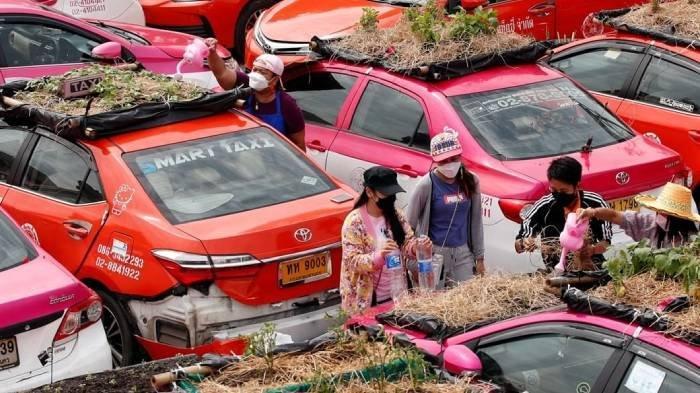 Para Supir Taksi Sulit Dapat Penumpang Selama Pandemi, Ubah Atap Mobil Jadi Pasar dengan Lakukan Ini