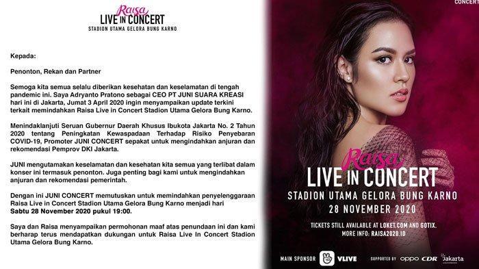Corona Melanda, Konser Raisa yang Digelar di GBK Bulan April Ditunda hingga November