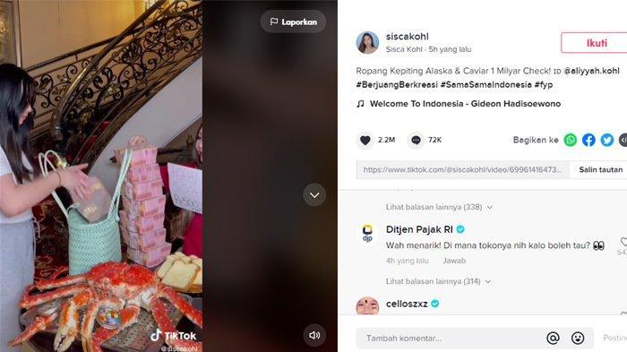 Konten Ropang Rp 1 miliar milik Sisca Kohl dikomentari akun Ditjen Pajak RI