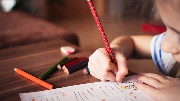 Siswi belajar di rumah