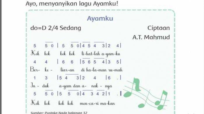 KUNCI JAWABAN Tema 6 Kelas 2 SD/MI Subtema 1 Halaman 2, 3, 4, 5 , 6, 7, 8, Menandai Lagu 'Ayamku'