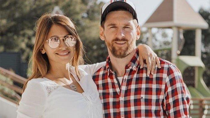Lionel Messi bersama sang istri Antonela Roccuzzo