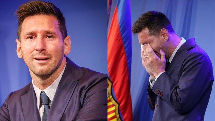 Lionel Messi menangis saat harus hengkang dari Barcelona