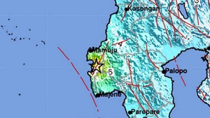 Lokasi gempa Majene Sulawesi Barat magnitudo 6,2, Jumat (15/1/2021)