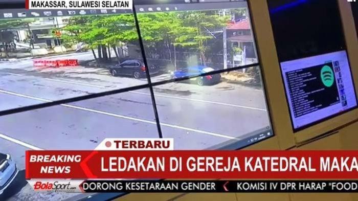 Lokasi ledakan di depan Gereja Katolik Makassar