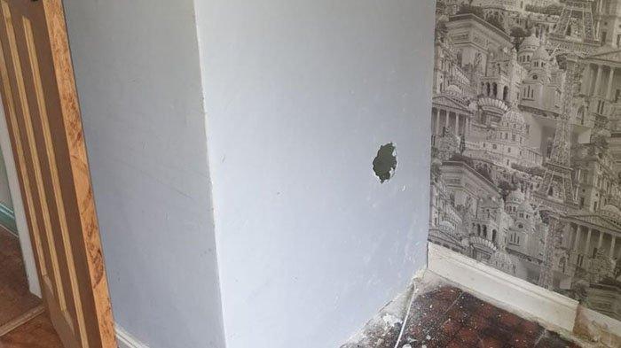 Lubang di dinding tempat Jonathan Lewis menemukan boneka dengan catatan seram
