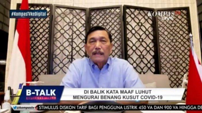 Menteri Koordinator Bidang Maritim dan Investasi sekaligus Koordinator PPKM Darurat Luhut Binsar Pandjaitan pada Selasa (20/7/2021).