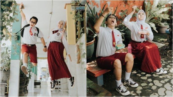 Viral Pasangan Berseragam SD Jalani Foto Prewed di Sekolah: Masih SD Udah Mau Nikah