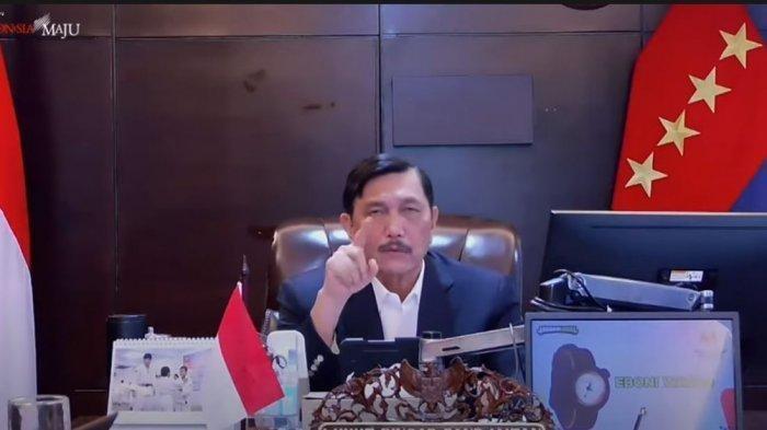 Menko Marinves Luhut Pandjaitan dalam konferensi persnya secara virtual, Selasa (6/7/2021).