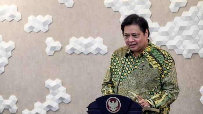 Menteri Koordinator Bidang Perekonomian Airlangga Hartarto yang hadir secara virtual saat melepas ekspor perdana SGA KEK Galang Batang di Bintan, Provinsi Kepulauan Riau, Jumat (2/7/2021).