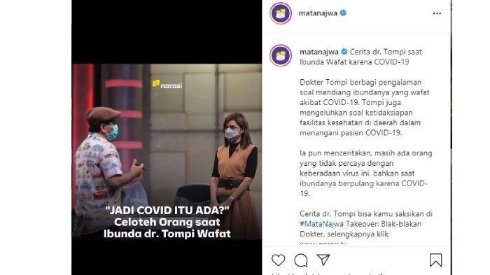 Najwa Shihab dengar cerita Tompi soal ibunya yang wafat karena Covid-19 (Instagram @matanajwa)