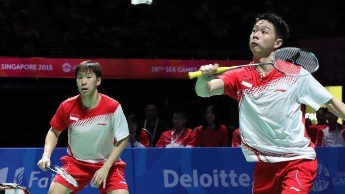 Pemain Badminton Indonesia Kevin Sanjaya dan Marcus Fernaldi.