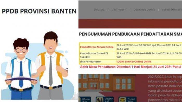 Pendaftaran PPDB Banten 2021 untuk jenjang SMA.