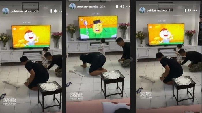 Putri Anne posting video Arya Saloka ngepel lantai saat di rumah