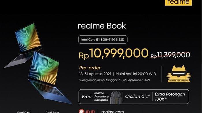 Harga dari realme Book yang bisa dibeli pada JD.ID dan realme.com.