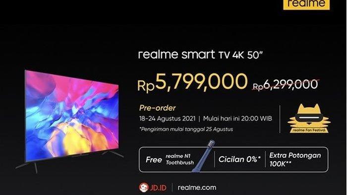 Harga dari realme Smart TV 4K 50 inci.