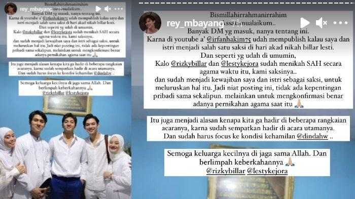 Rey Mbayang buka suara terkait pernikahan siri Lesti Kejora dan Rizky Billar