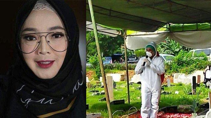 Rina Gunawan (kiri) - Teddy Syach di pemakaman istrinya, di TPU Tanah Kusir, Jakarta, Rabu (3/3/2021) pagi. (kanan)