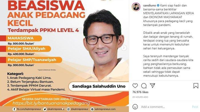 Sandiaga Uno beri bantuan beasiswa untuk anak pedagang kaki lima