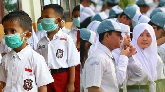 Ilustrasi hari pertama masuk sekolah di tengah pandemi corona