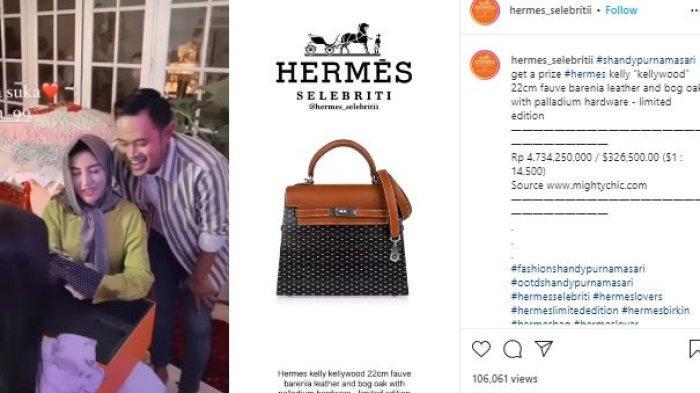 Shandy Purnamasari mendapatkan kado tas mewah dari suami.