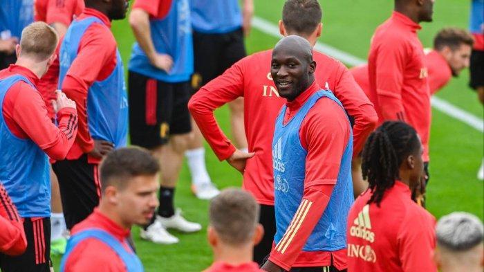 Skuad Belgia sedang latihan jelang melawan Portugal di babak 16 besar Euro 2020 (28/6/2021).