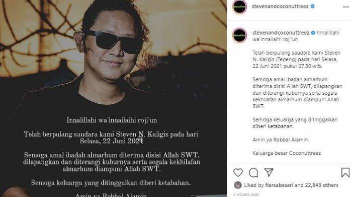 Steven Nugraha Kaligis, vokalis Steven and Coconut Treez meninggal dunia hari ini, Selasa (22/6/2021).