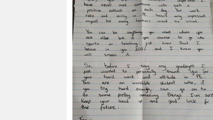 Surat guru olahraga untuk muridnya