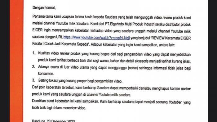 Eiger Viral karena Surat Keberatan, Ternyata Tak Hanya YouTuber Dian, Sosok Ini juga Pernah Diprotes
