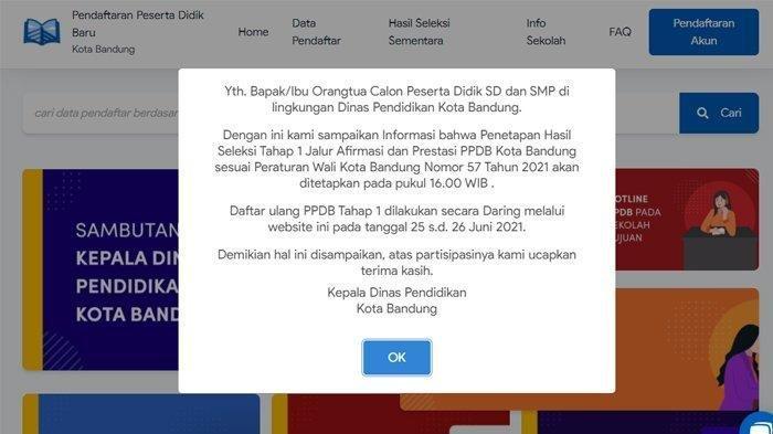 Tampilan laman resmi PPDB kota Bandung yang menunjukkan waktu pengumuman hasil seleksi tahap 1, Kamis (24/6/2021)