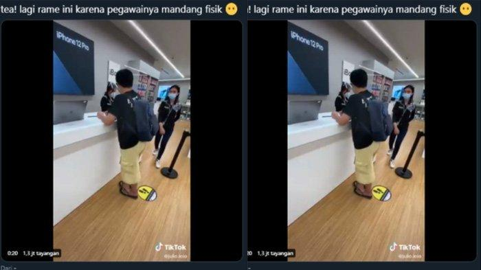 Tangkapan layar cuplikan video mengenai pelanggan di iBox di Senayan City, Jakarta pada Kamis (24/12/2020).