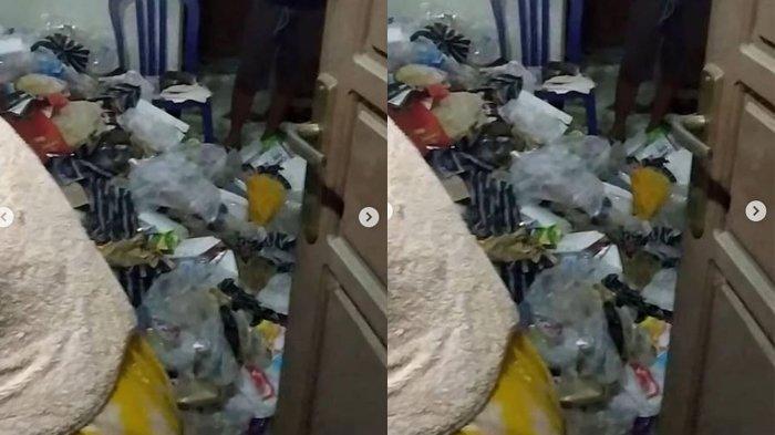 Tumpukan sampah di kamar kost seorang ojol