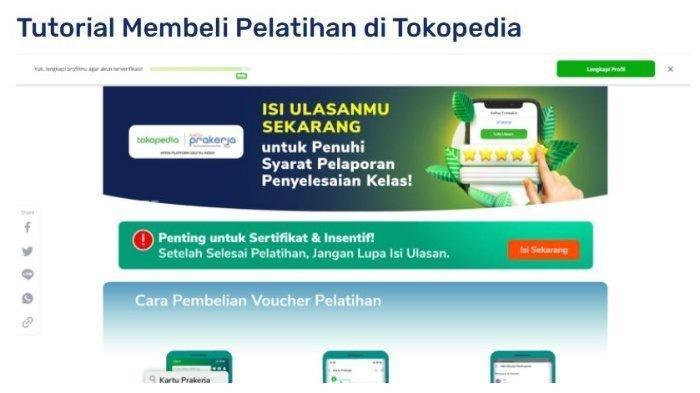 CARA Membeli Pelatihan Kartu Prakerja Gelombang 19 di Pintaria & Tokopedia, Cek Cara Mengikutinya