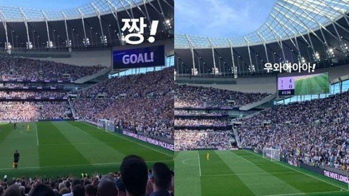 Unggahan Jisoo BLACKPINK saat menonton pertandingan Tottenham Hotspur